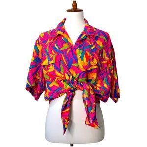 ANN MAY Abstract Bright Print Vintage Camp Blouse